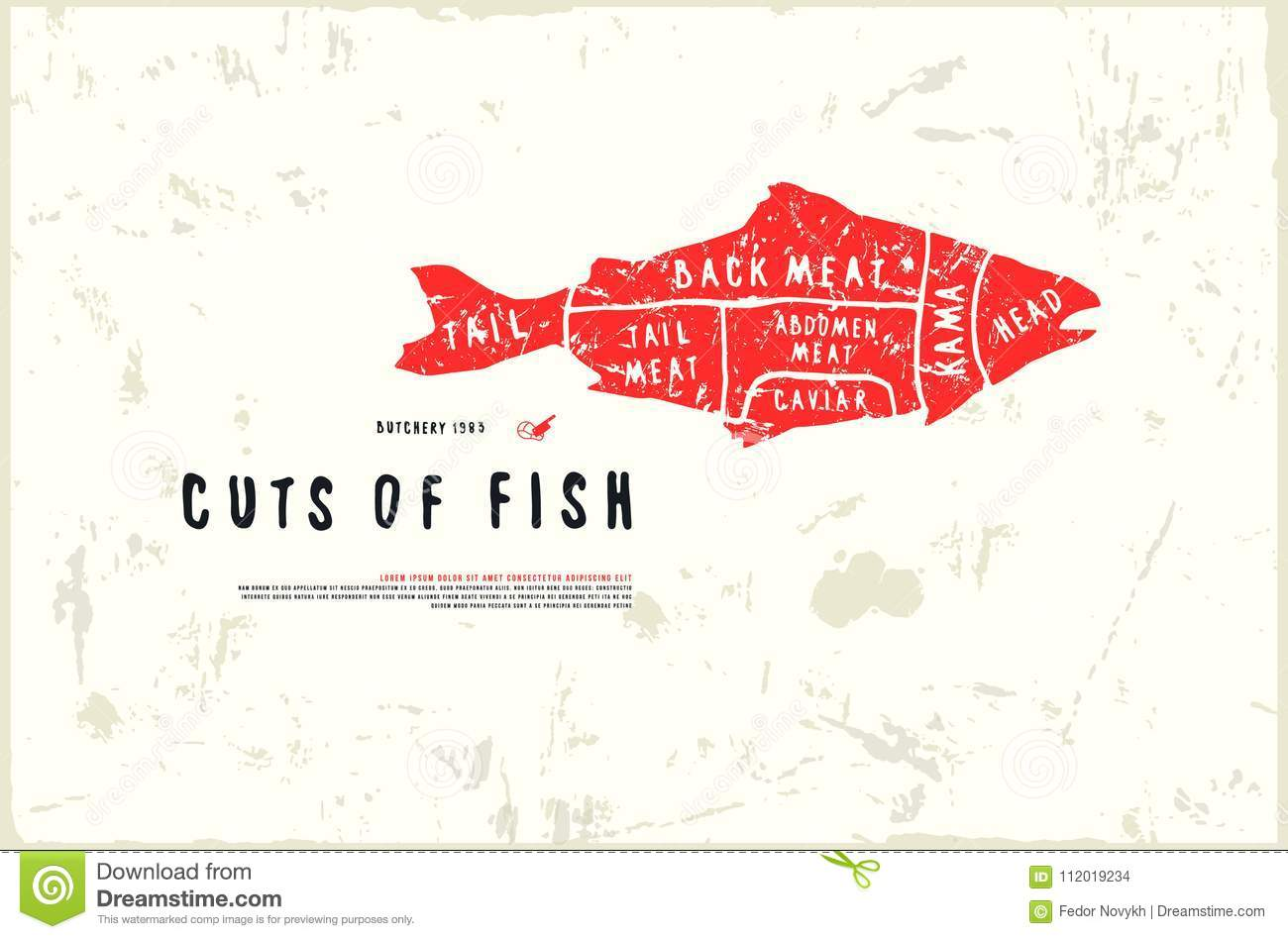 Stock Vector Fish Cuts Diagram In The Style Of Handmade Graphics ...