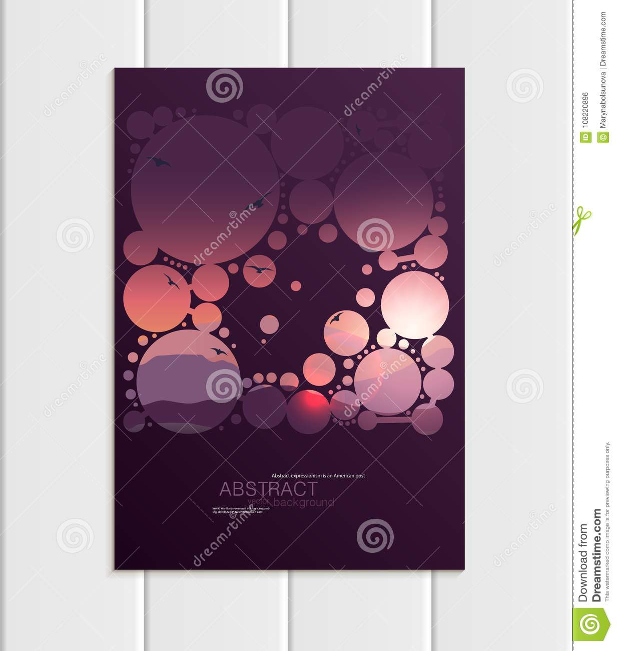 Vector Brochure A5 Or A4 Format Abstract Circles And Mountain ...