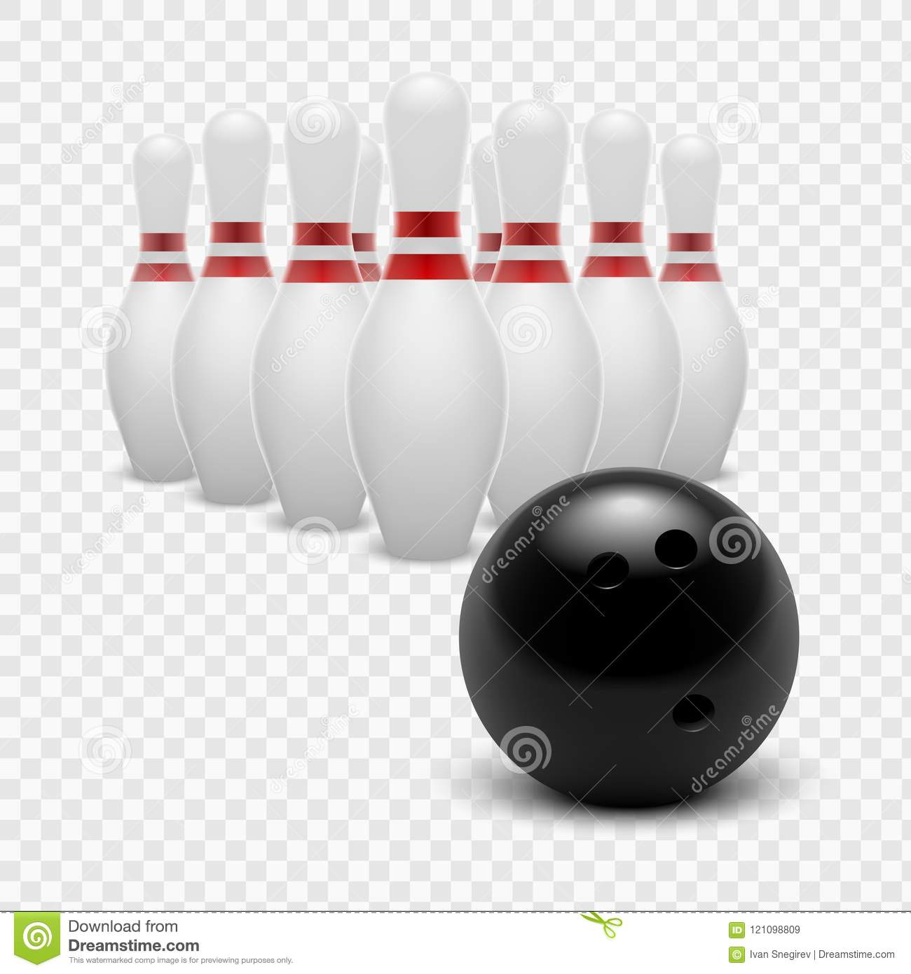 Stock Vector Illustration Bowling Ball And Skittles