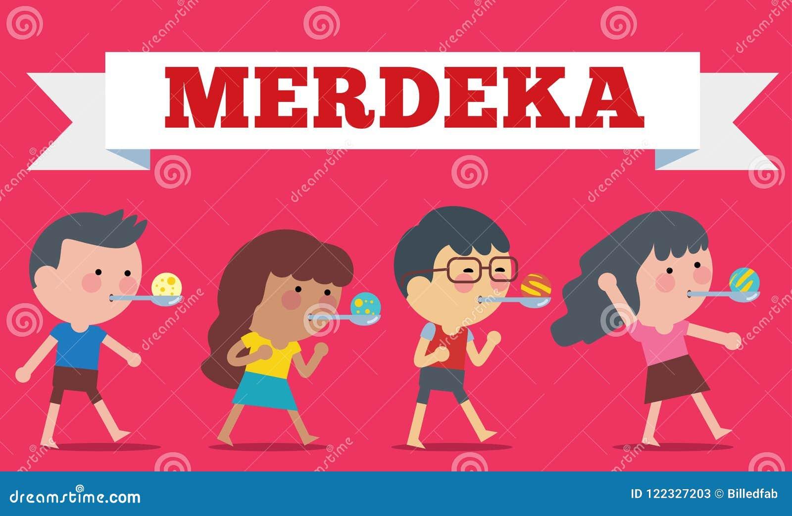 Stock vector of Illustration on Hari Merdeka ,Independence Day of Indonesia. Flat Illustration style.