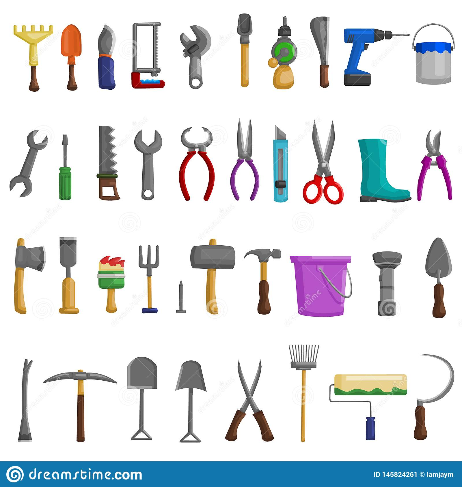 Stock vector illustration set isolated icons building tools repair, construction buildings, drill, hammer, screwdriver, saw, file,
