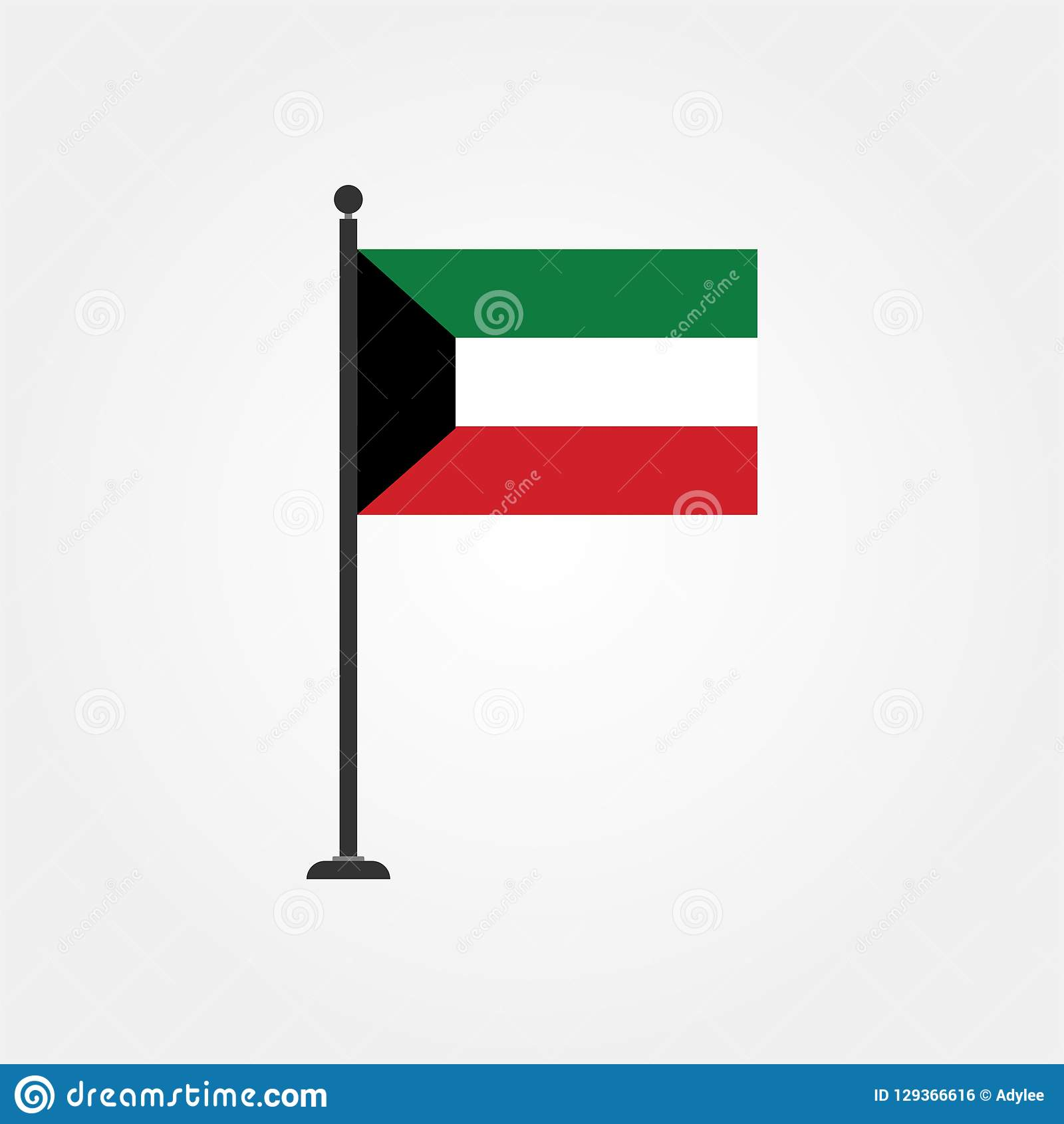 Stock Vector Kuwait Flag Icon 3 Stock Photo - Illustration of atlas