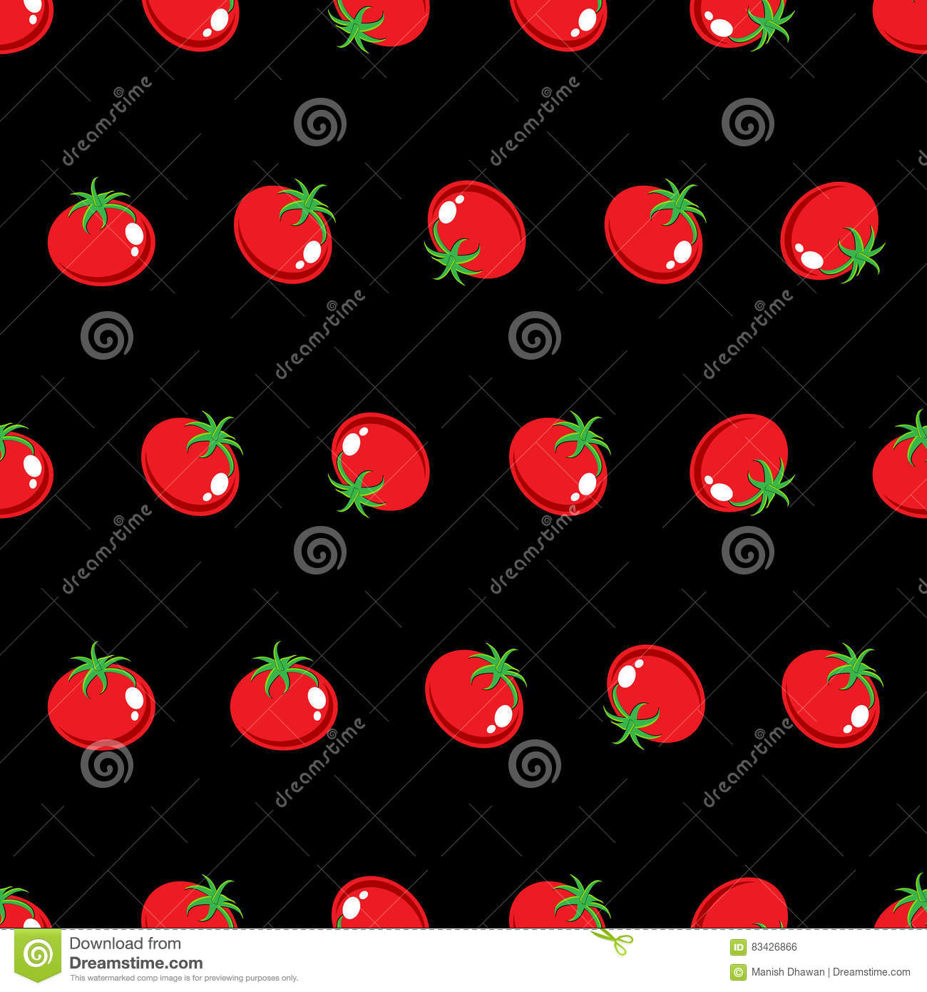 Stock Vector Red Tomato Pattern On Black Background Wallpaper Stock Vector Illustration Of Graphics Grass 83426866