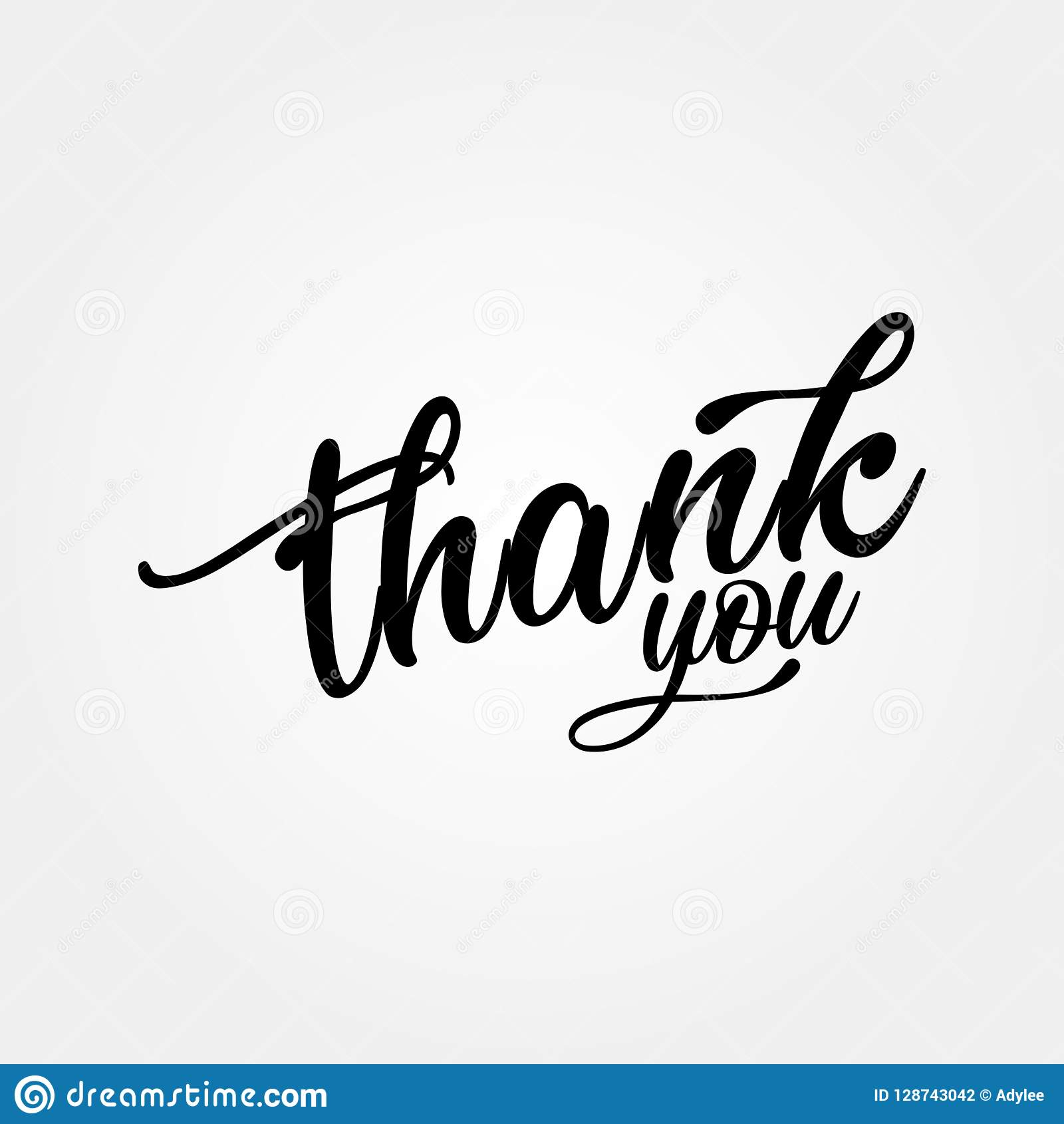Stock Vector Thank You Handwritten Inscription Hand Drawn Lettering