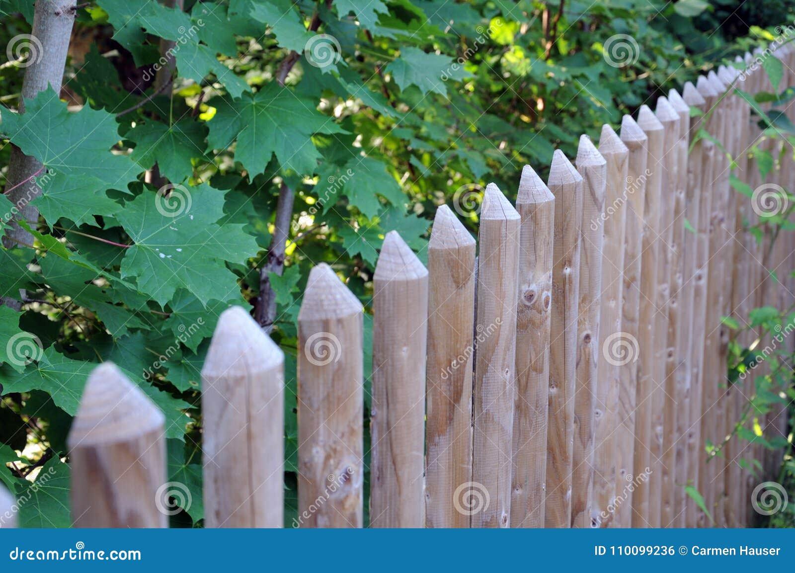 Stockade Fence With Half Round Posts Stock Photo Image