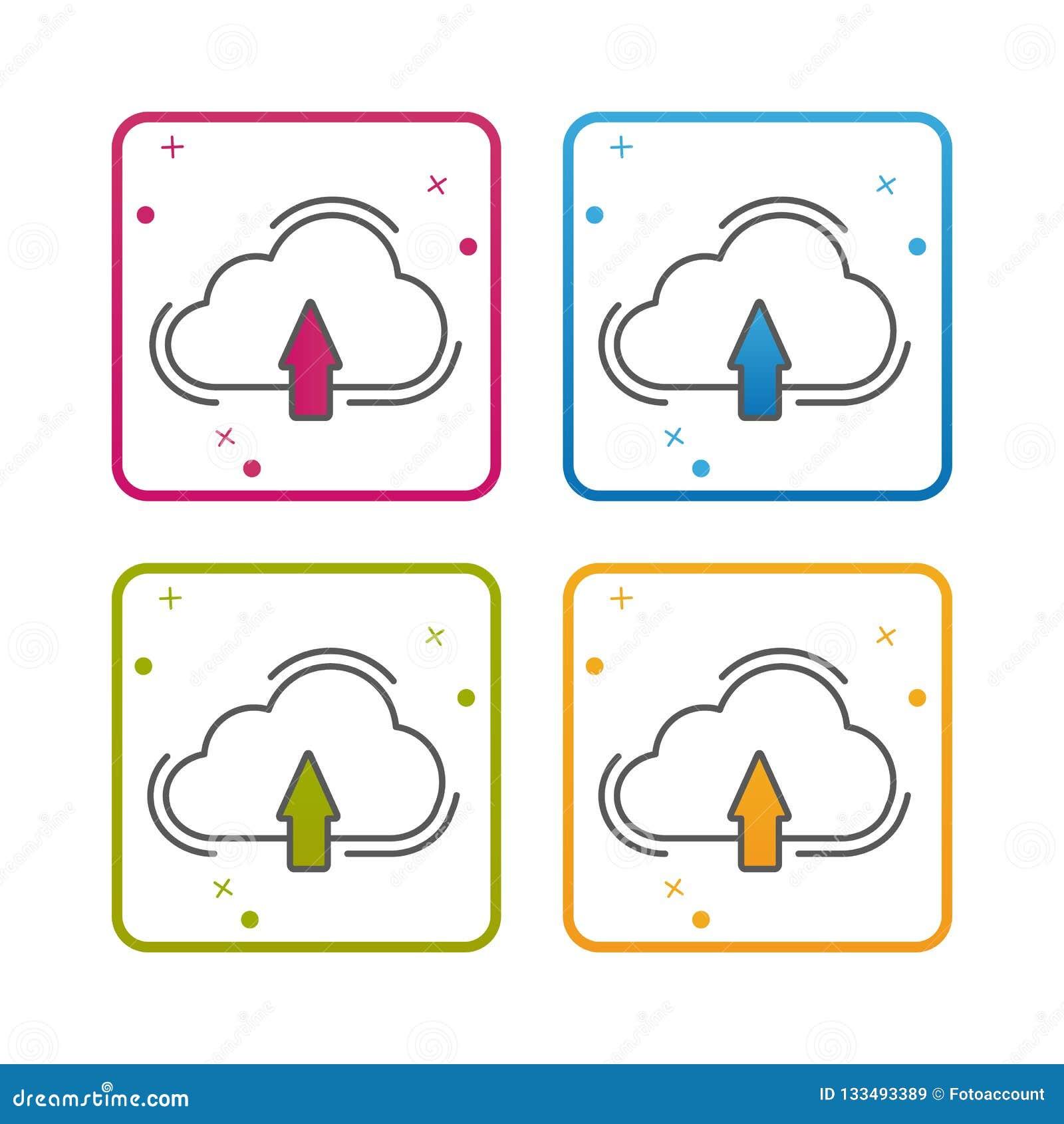 Stockage de nuage - contour a dénommé l icône - course Editable - illustration colorée de vecteur - d isolement sur le fond blanc
