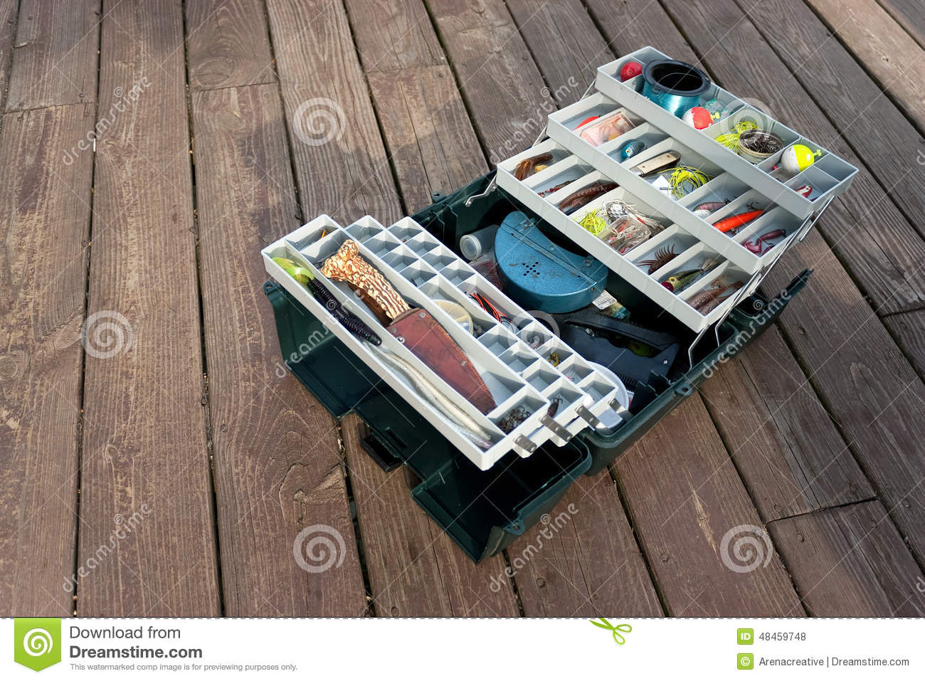 Stocked fishing tackle box stock photo image of macro for Large tackle boxes for fishing
