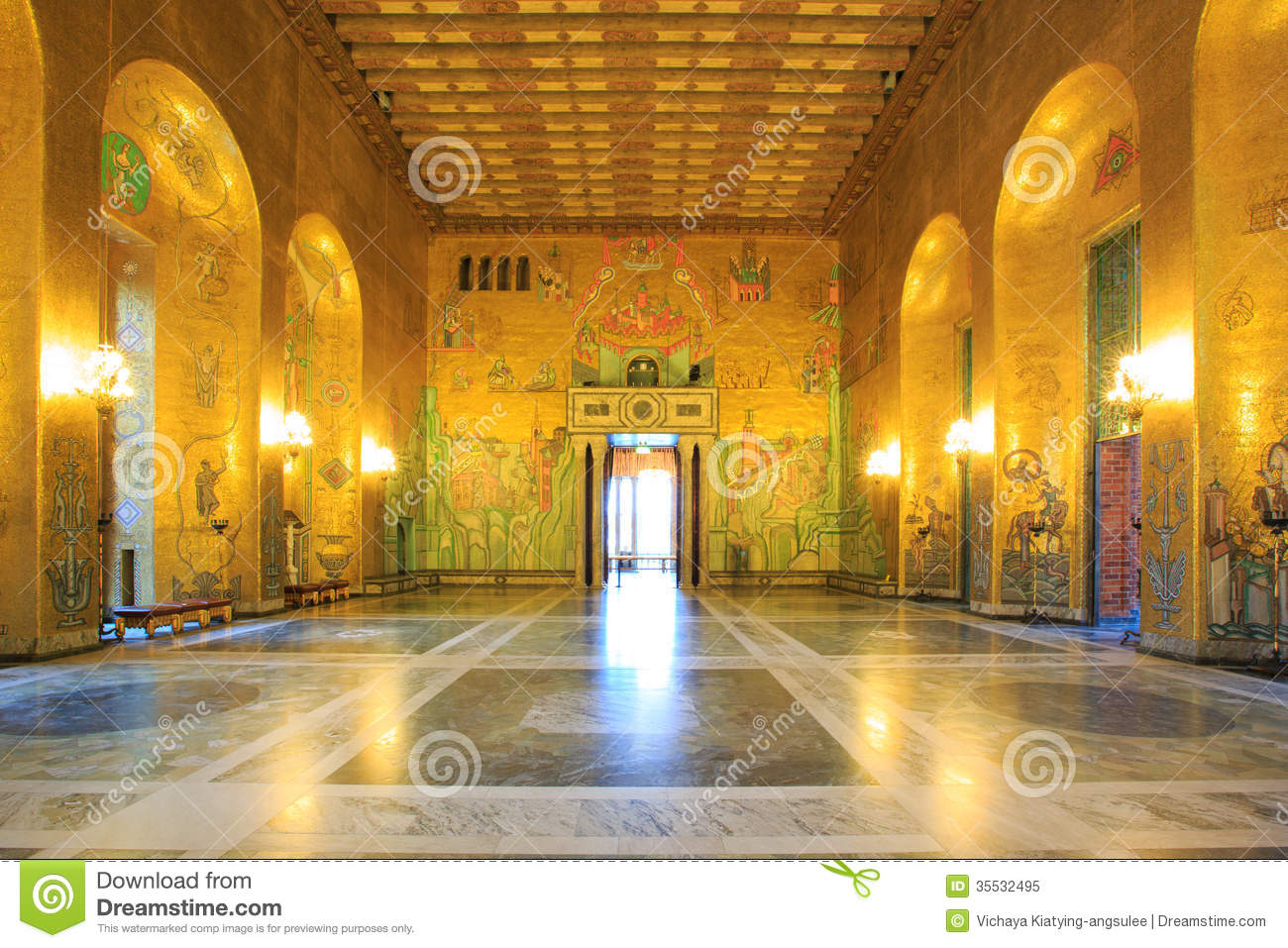 Stockholm city hall ballroom stock image image 35532495 for Image city interiors