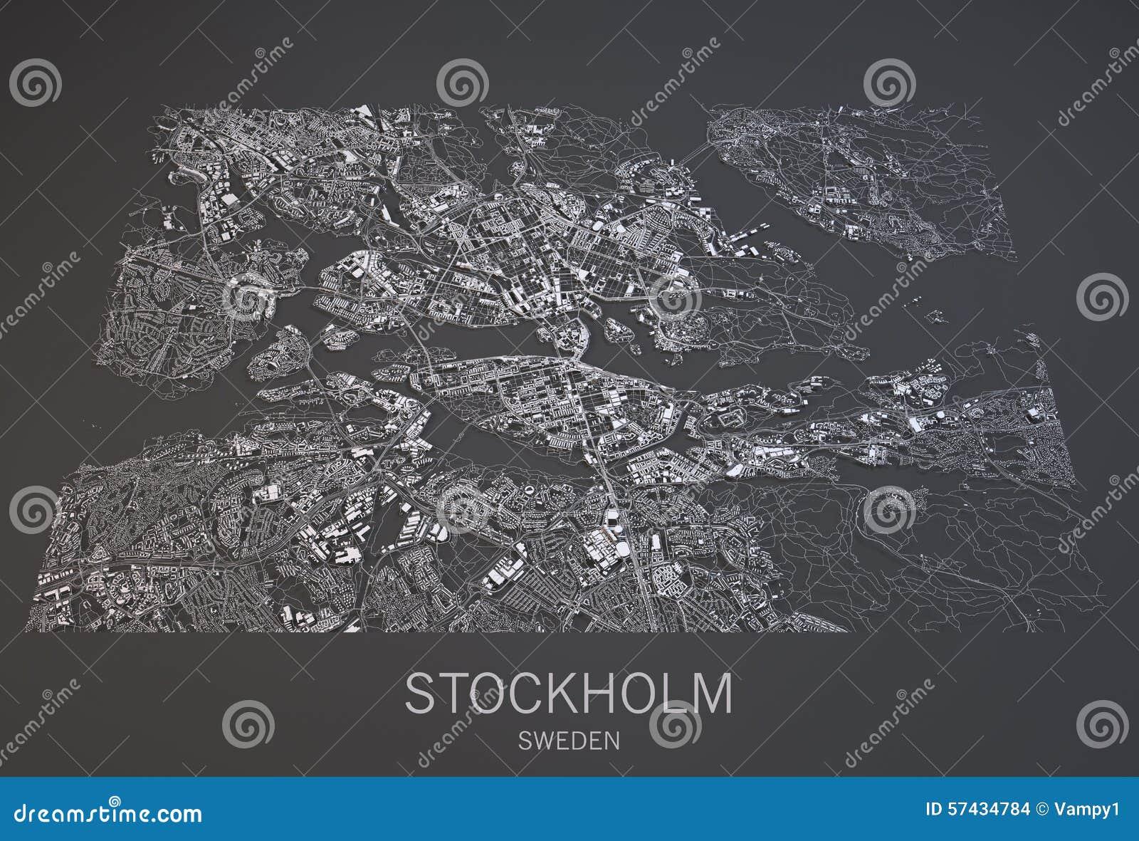 Stockholm Map, Sweden, Satellite View Stock Illustration