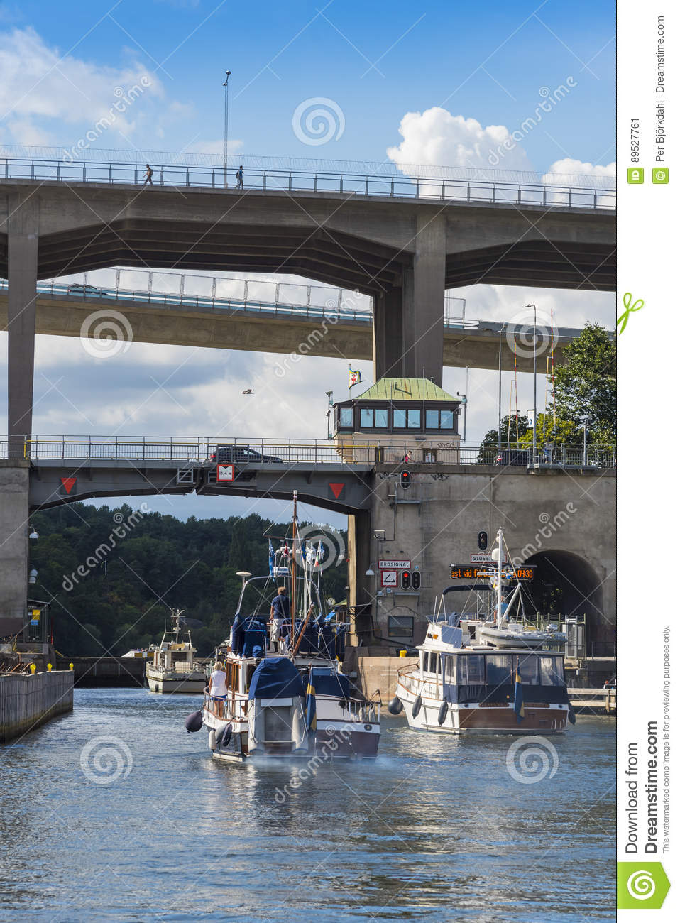Stockholm: Motorboats pass through a lock