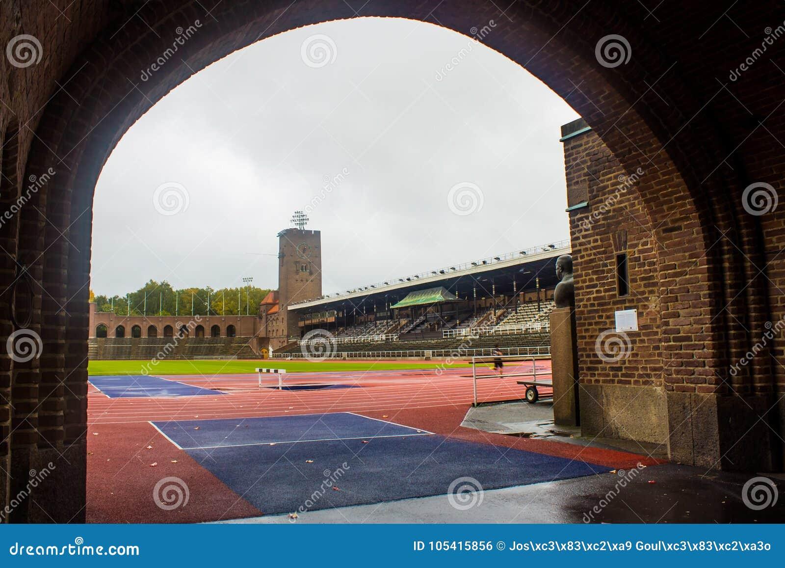 Stockholm Olympic Stadium: partisk sikt från maratonporten