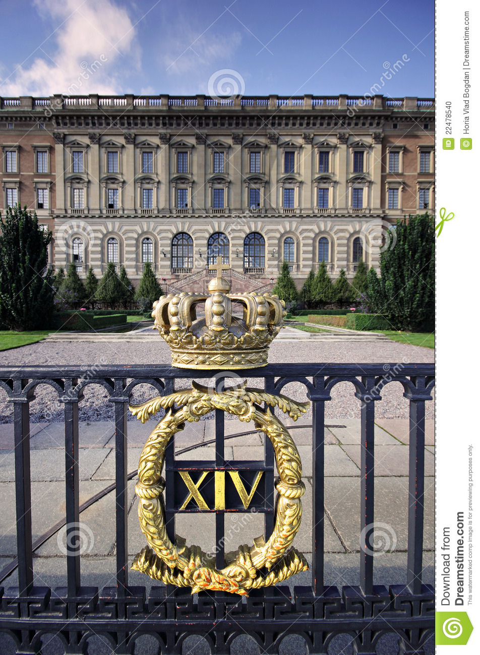 Stockholm Royal Palace Gate With Crown Stock Photo Image