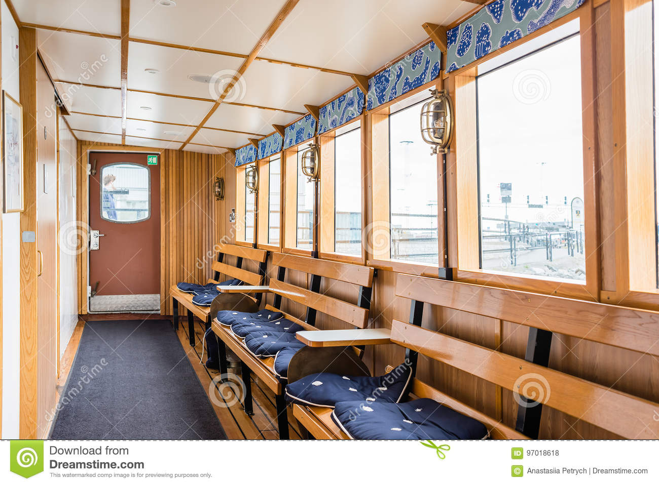 Swell Stockholm Sweden July 12 2017 Boat Interior With Evergreenethics Interior Chair Design Evergreenethicsorg