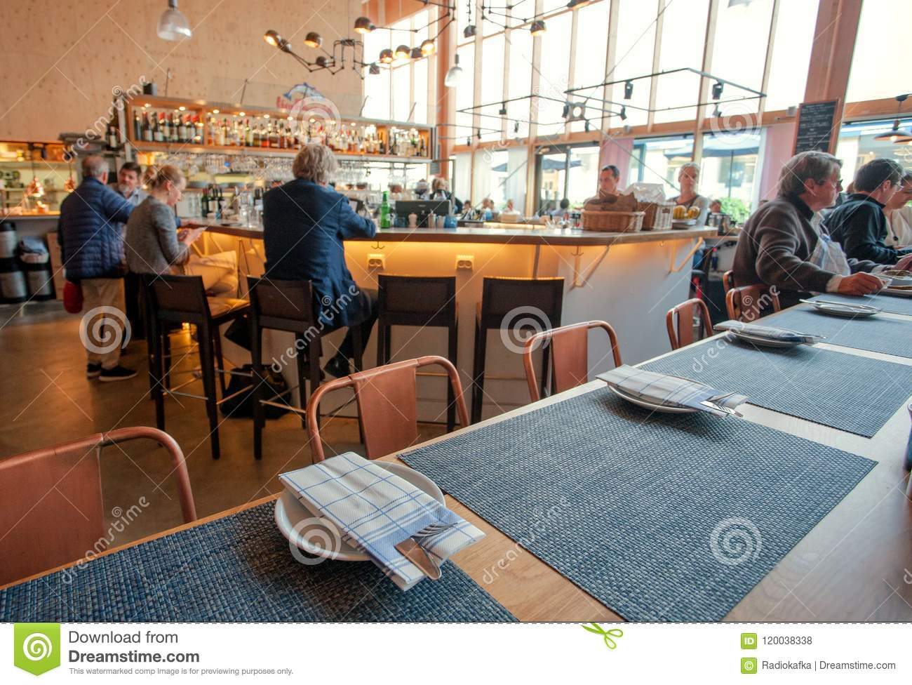 Many People Having Business Lunch Inside Modern Cafe Or Restaurant Editorial Stock Photo Image Of Cafe Modern 120038338