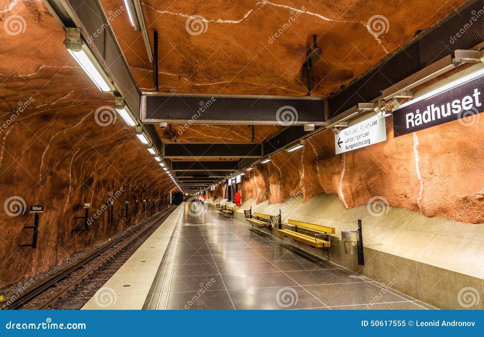 stockholm sweden may interior radhuset metro station o system called world s longest art 50617555