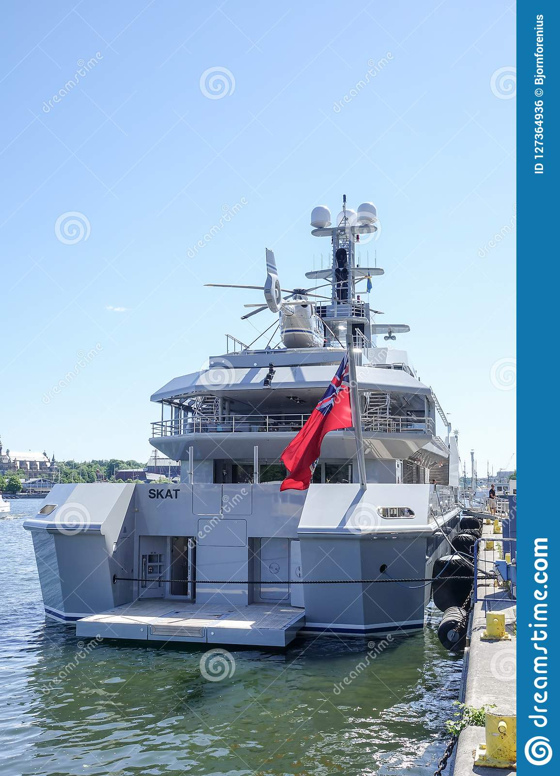 Private Luxury Yacht With Helicopter Deck. Editorial Photo ...