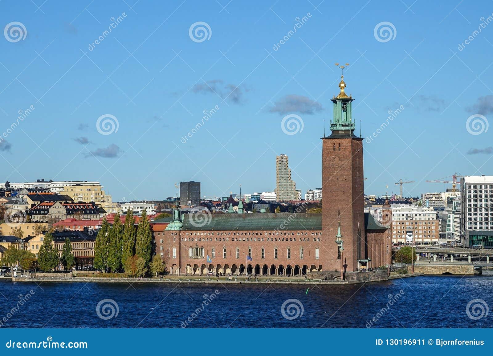 78208cb5e371 Stockholm, Sweden - October 22, 2018: The Stockholm City Hall in Swedish: Stockholms  stadshus or Stadshuset locally
