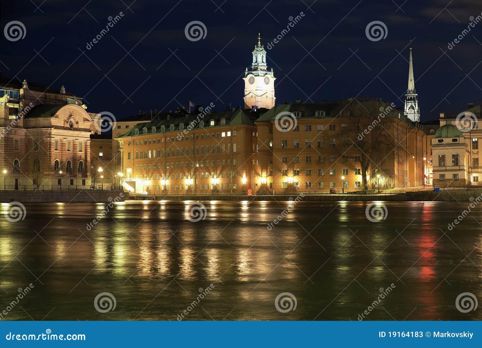 Stockholm, vue de nuit du Gamla Stan, Suède