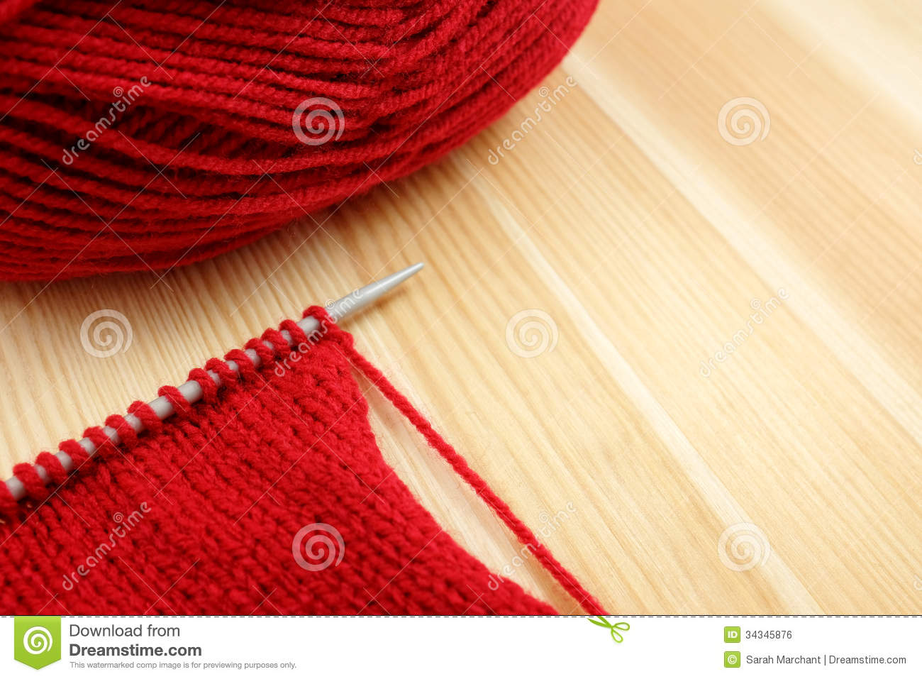 Knitting Stockinette Stitch With Circular Needles : Stockinette Stitch On Knitting Needle With Red Wool Royalty Free Stock Image ...