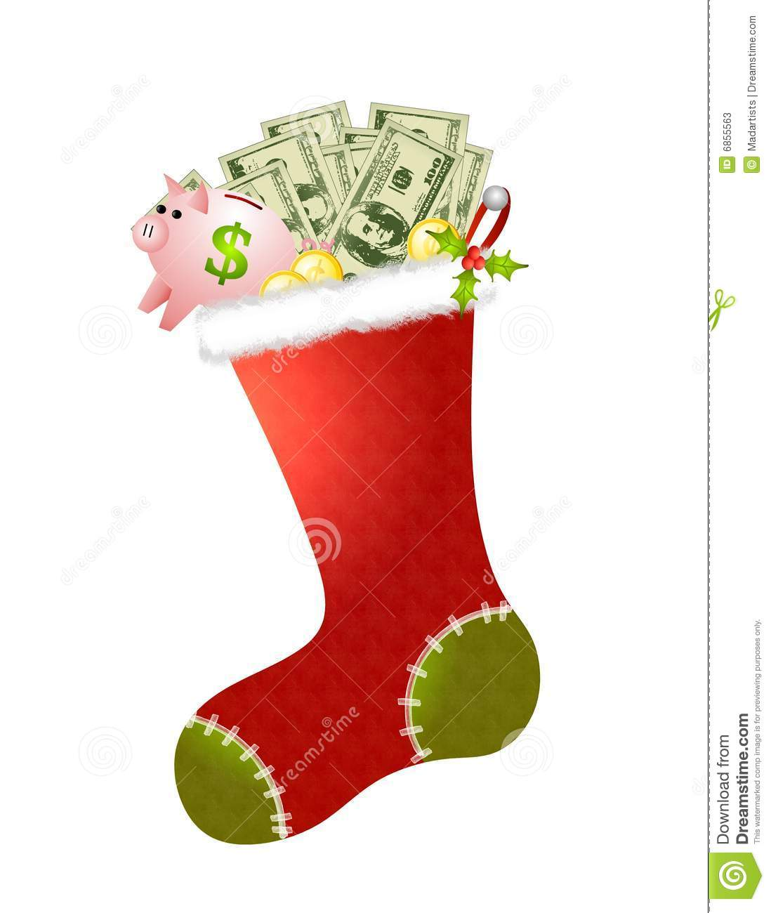 Stocking Full of Cash stock illustration. Illustration of ...
