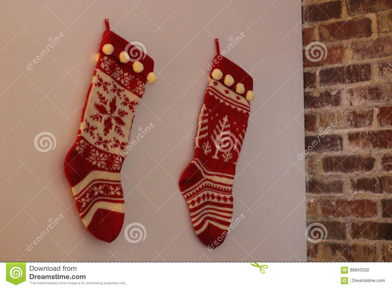 two red and white sweater christmas stockings hung by the chimney waiting for santa - Sweater Christmas Stockings