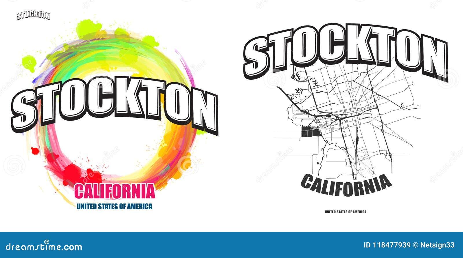 Stockton, California, Two Logo Artworks Stock Vector - Illustration ...