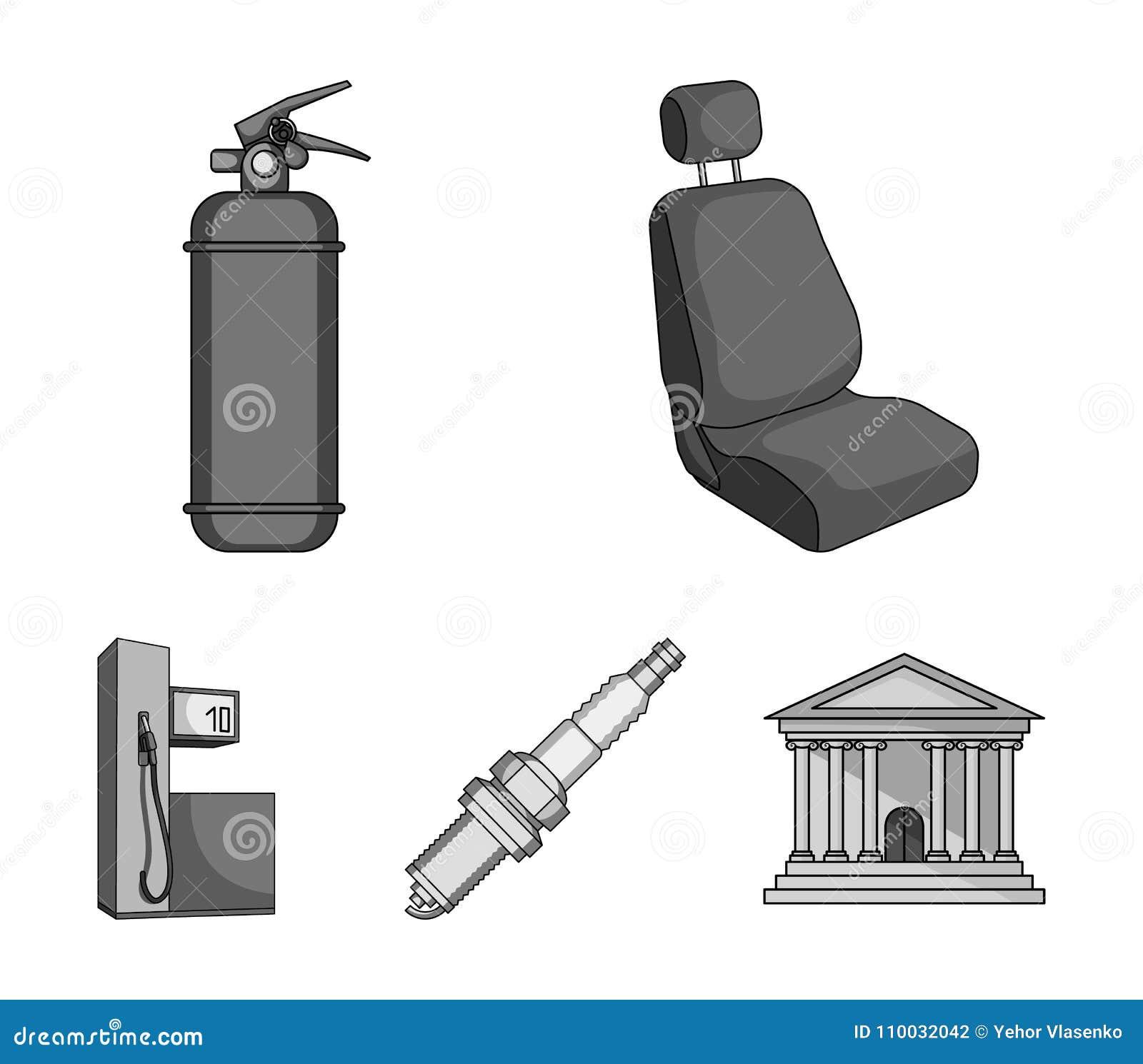 Stoel met hoofdsteun, brandblusapparaat, autokaars, benzinepost, pictogrammen van de Auto de vastgestelde inzameling in zwart-wit