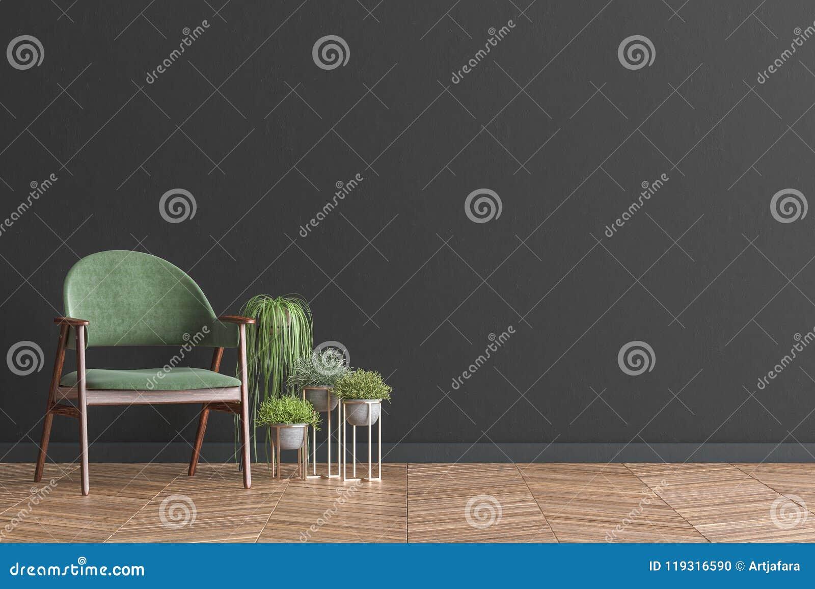 Woonkamer Zwarte Muur : Stoel met installaties in spot van de woonkamer de binnenlandse