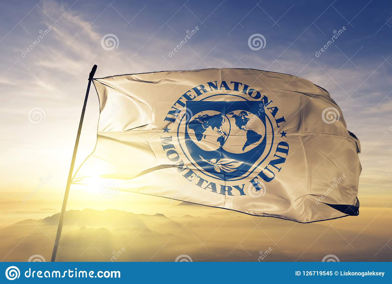 Stof die van de de vlag de textieldoek van het internationaal Monetair Fondsenimf op de hoogste mist van de zonsopgangmist golven