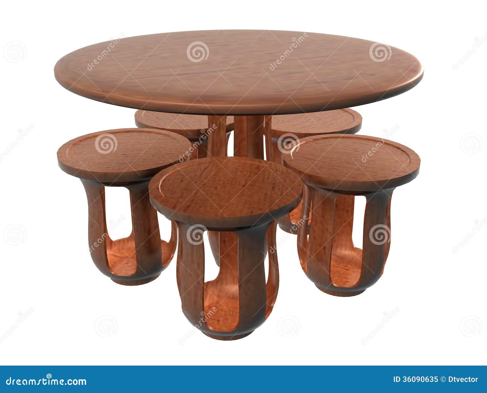 Stol för cirkelblommatabell Set_Raster