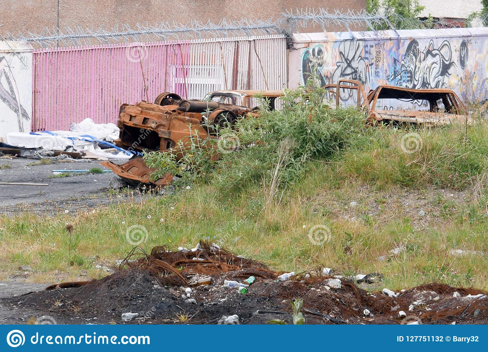 Stolen cars burnt and dumped in Dublin, Ireland