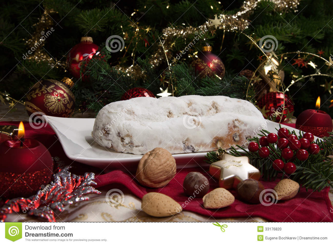 Stollen for christmas stock photo image 33176820 - Traditional german christmas tree decorations ...