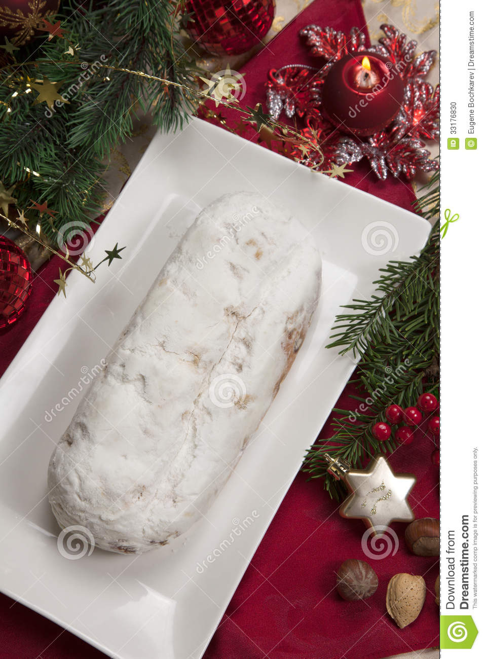 Stollen for christmas stock photo image 33176830 - Traditional german christmas tree decorations ...
