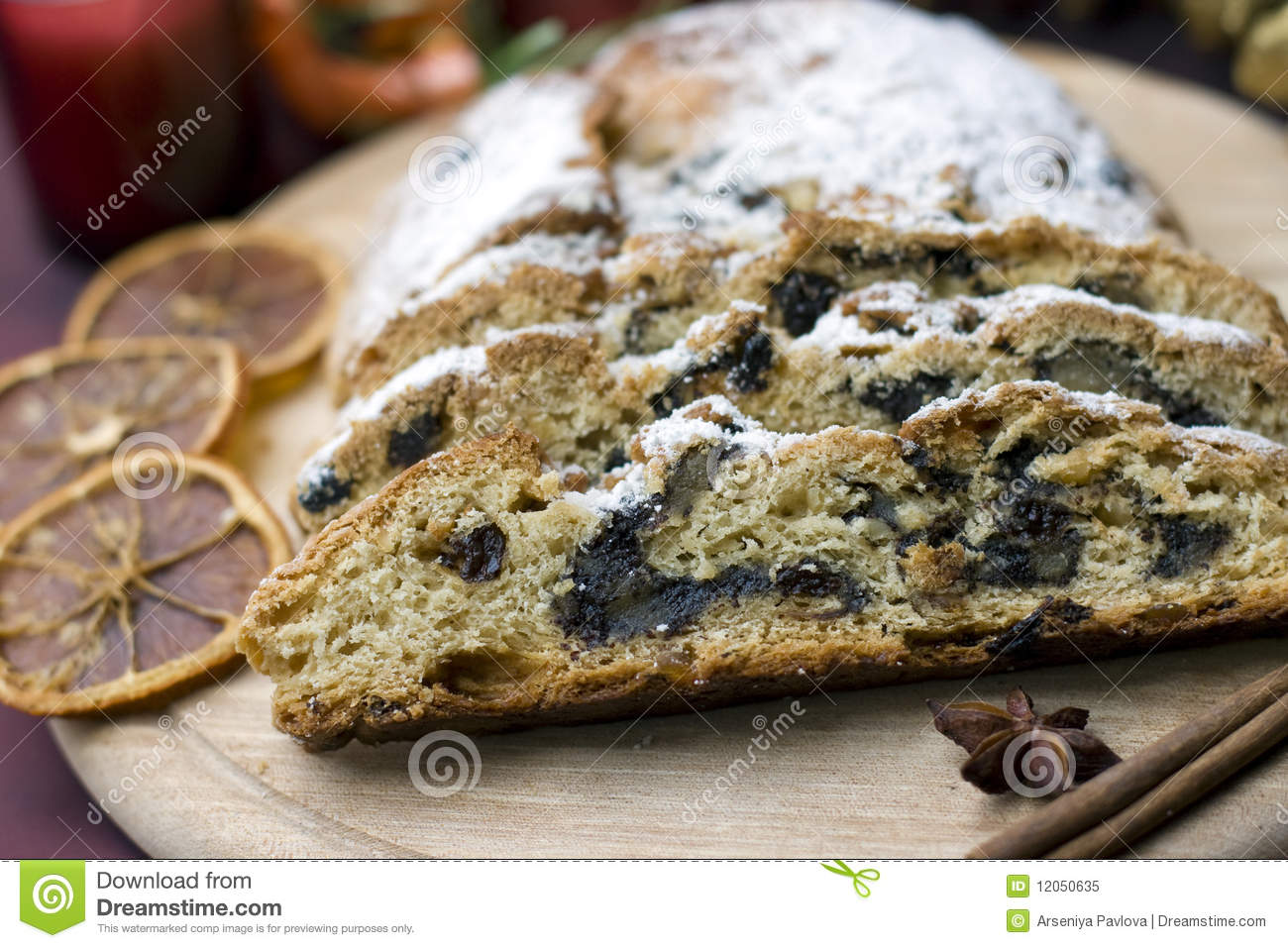 Stollen On A Festive Table Royalty Free Stock Photo - Image: 12050635