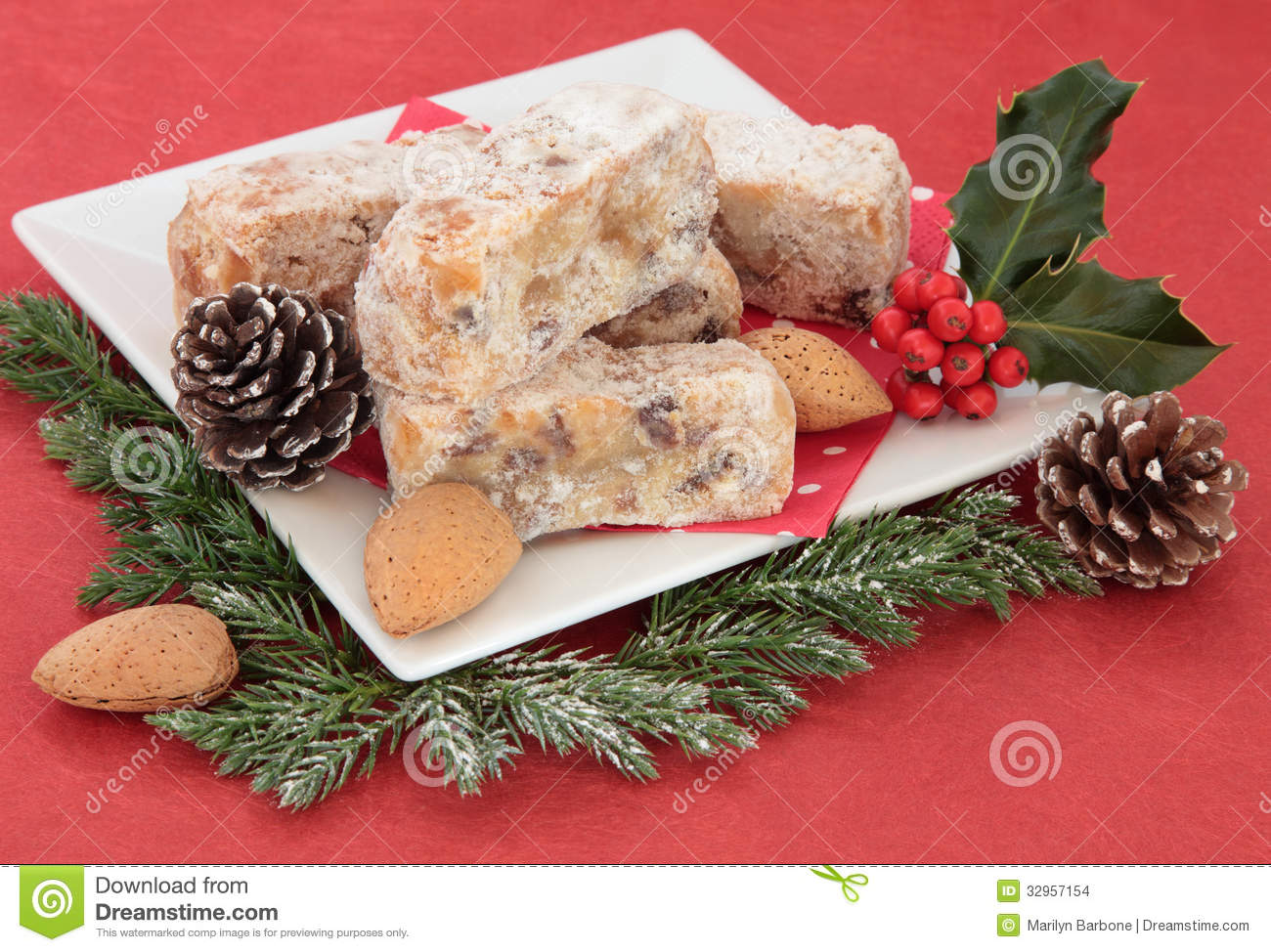 Decorating Christmas Cake Nuts : Stollen slices stock images image
