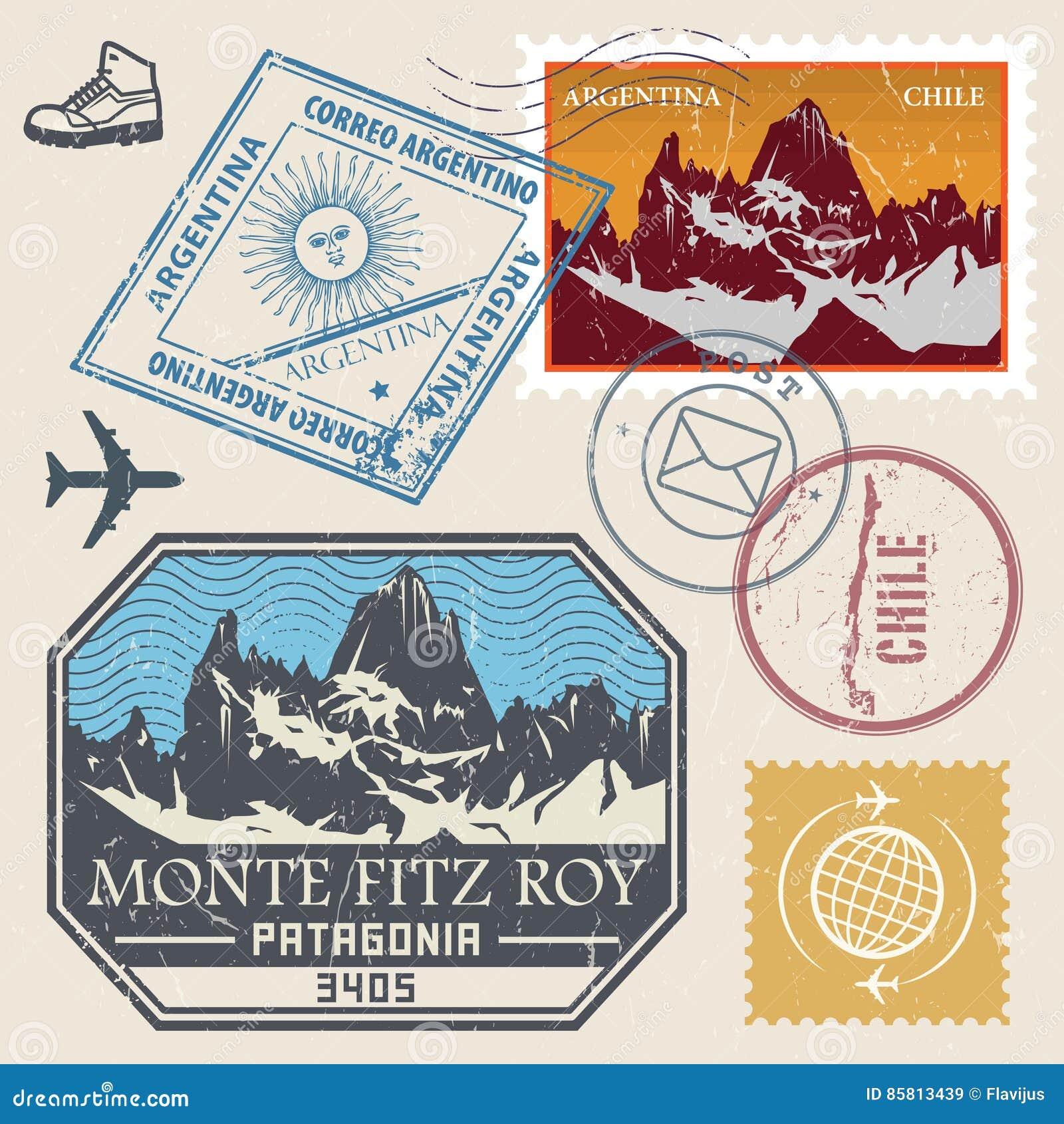 Stolpestämpeluppsättning med Monte Fitz Roy