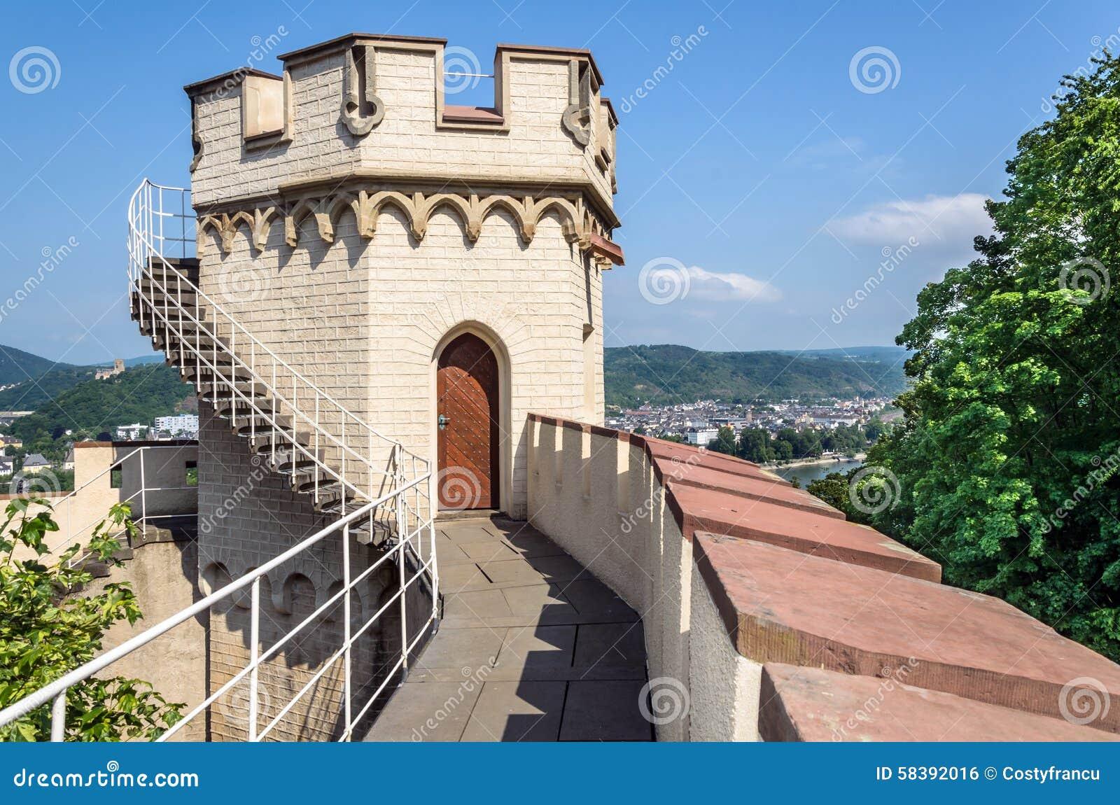 Stolzenfels kasztel Rhine dolina, Niemcy