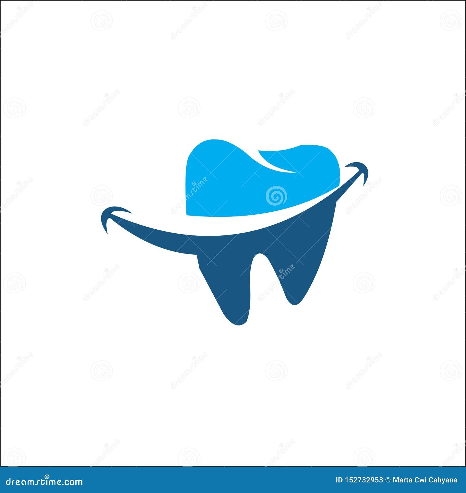 Stomatologicznego logo szablonu wektorowy błękit