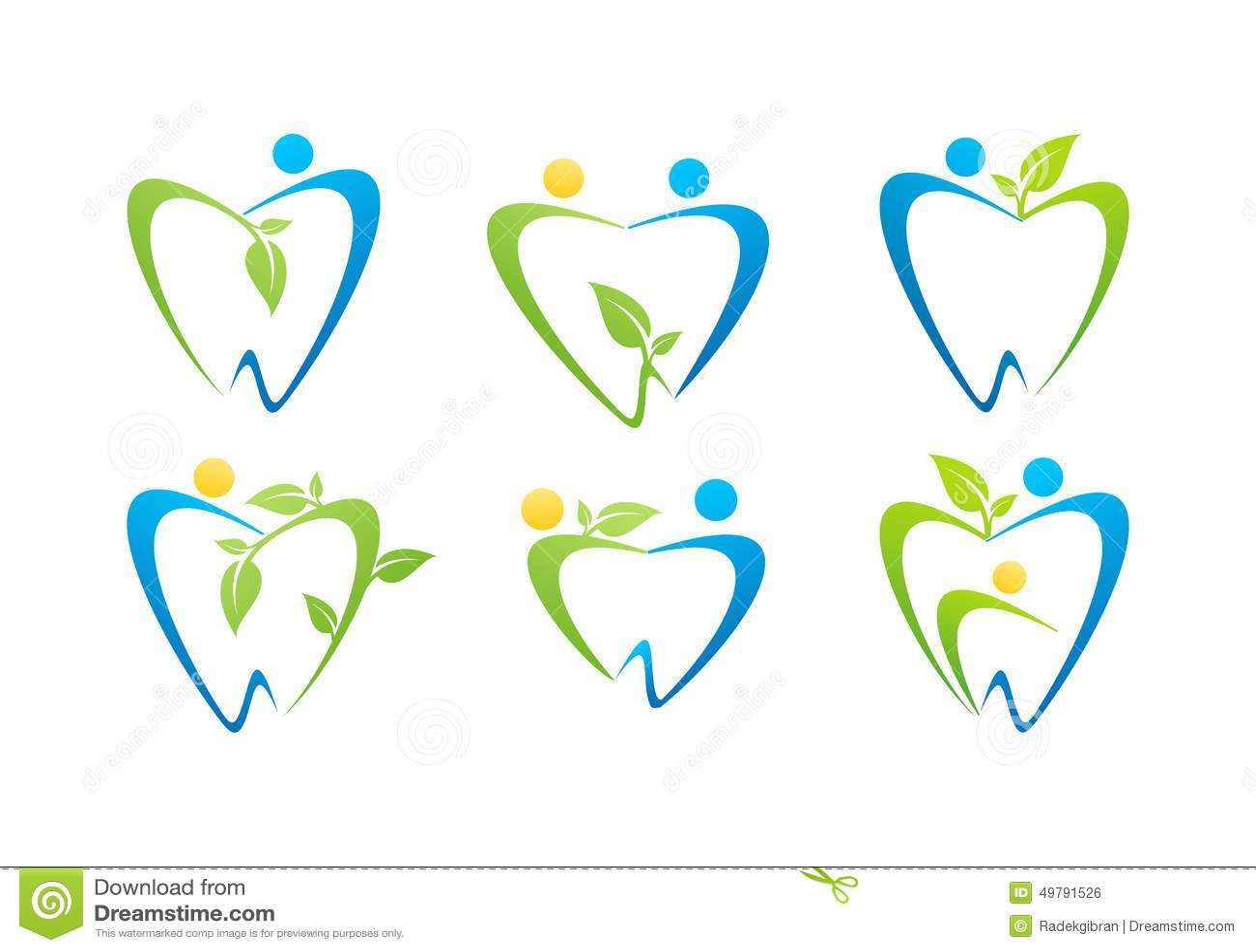 Stomatologicznej opieki logo, dentystów zdrowie natury symbolu projekta ustalonego wektoru ilustracyjni ludzie
