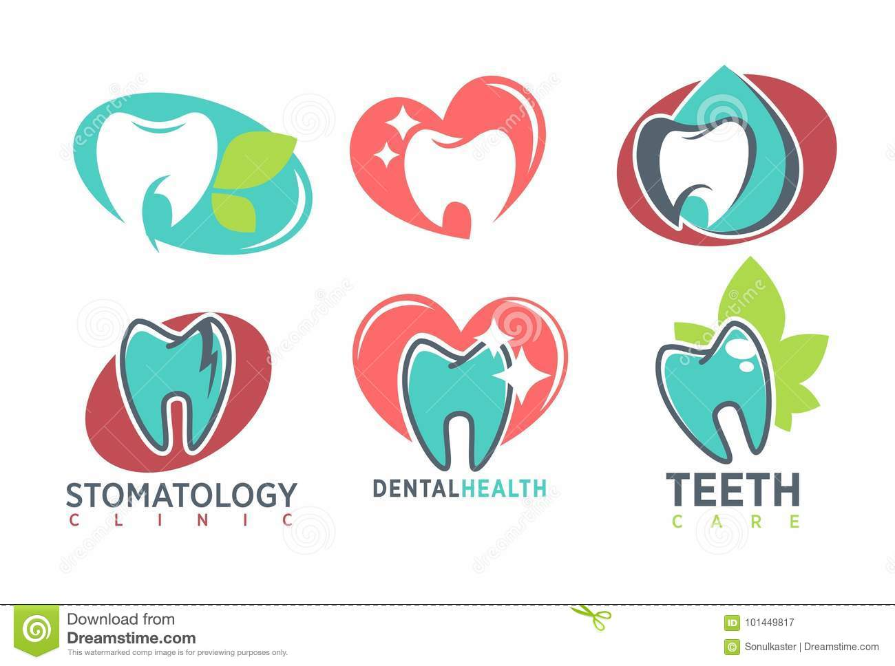 stomatology dental clinic whote tooth vector icon template teeth