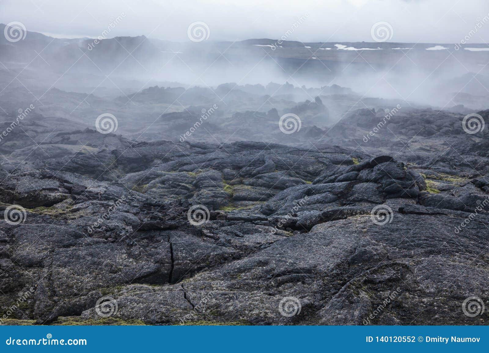 Stomend van het gebiedsmyvatn van Krafla van het lavagebied het vulkanische gebied Noordoostelijk IJsland Scandinavië