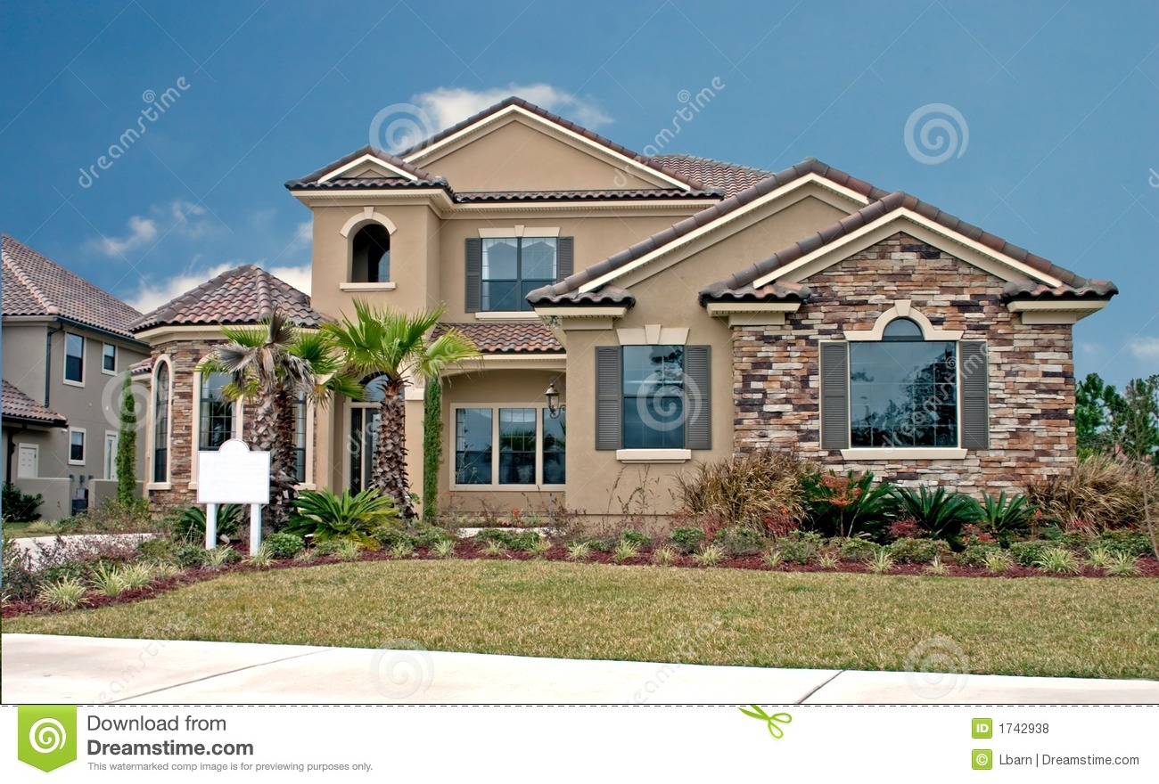 Stone accents new home 9 stock photo image of mortgage for Exterior home accents