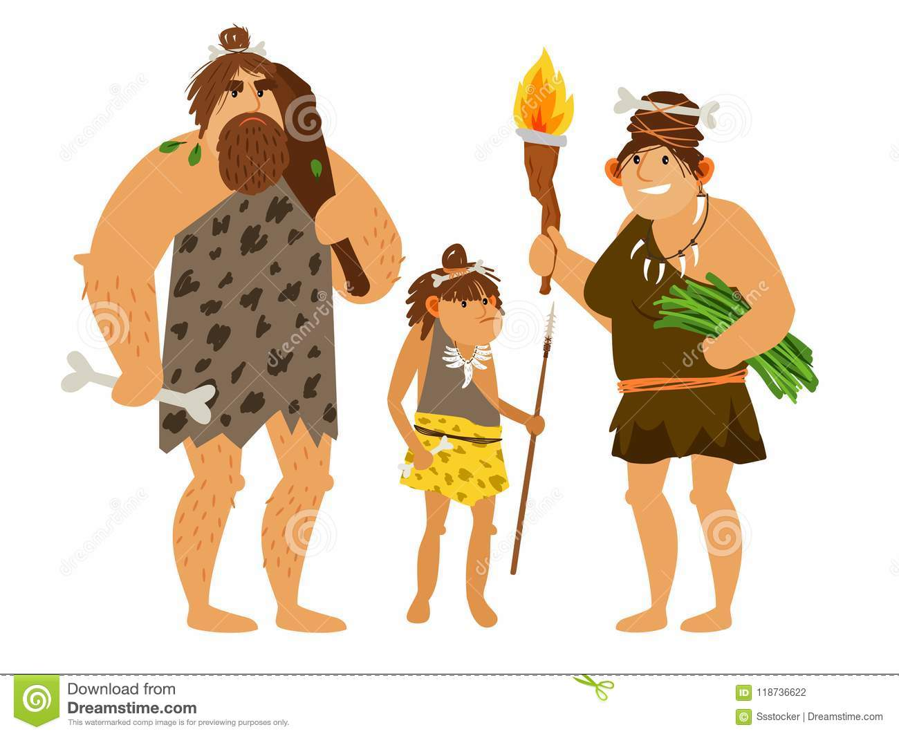Stone age family stock vector. Illustration of ...