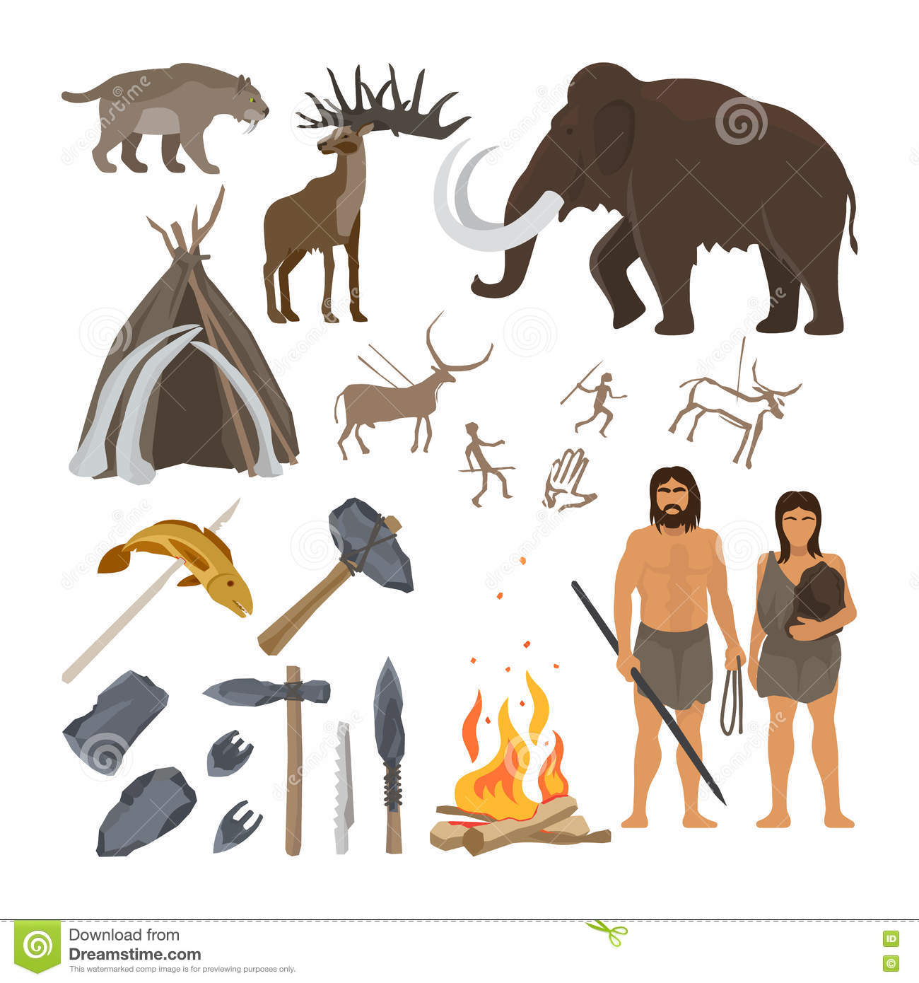 Stone age icons set stock vector. Illustration of cavemen - 78916488