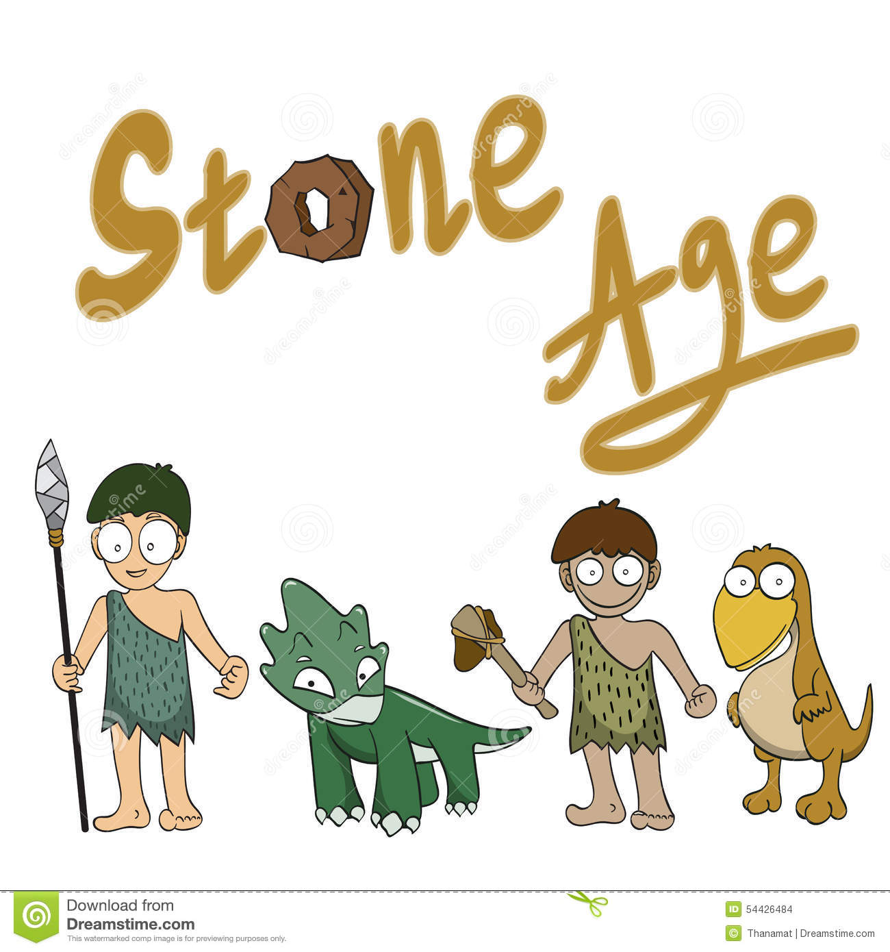 Stone Age People Cartoon Stock Vector - Image: 54426484