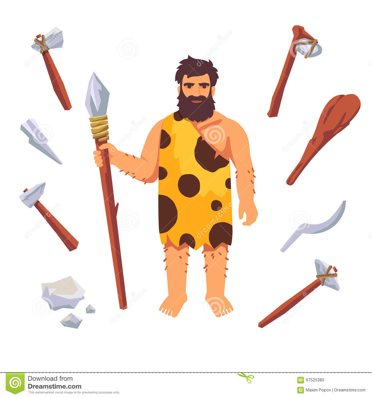 Stone age primitive man with wooden tools, axe, hammer, club, axe ...
