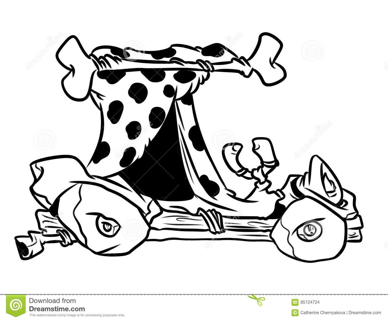 stone age retro car coloring page cartoon stock photo