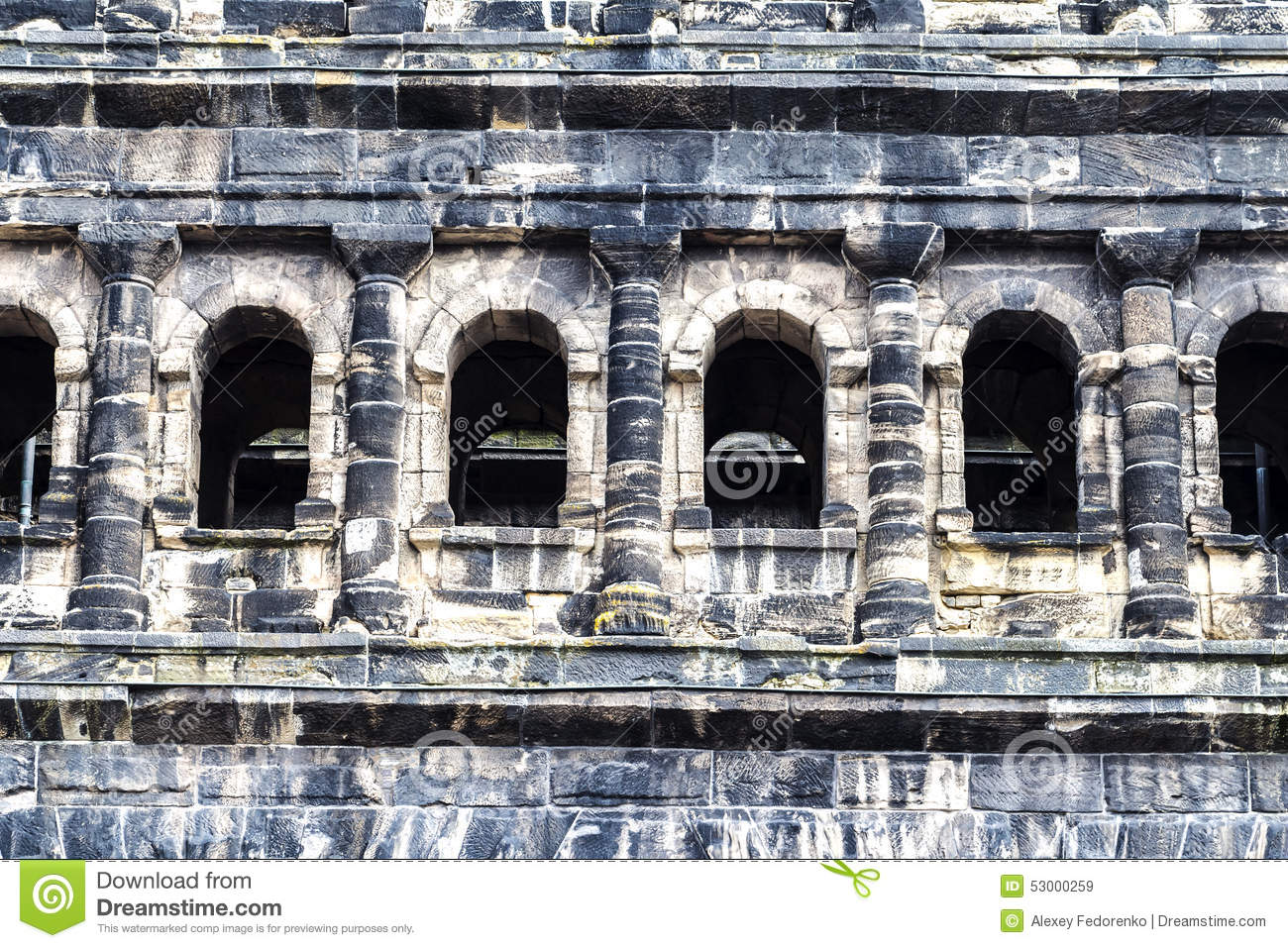 Stone Of Ancient Roman Gate Porta Nigra, Trier Stock Photo ...