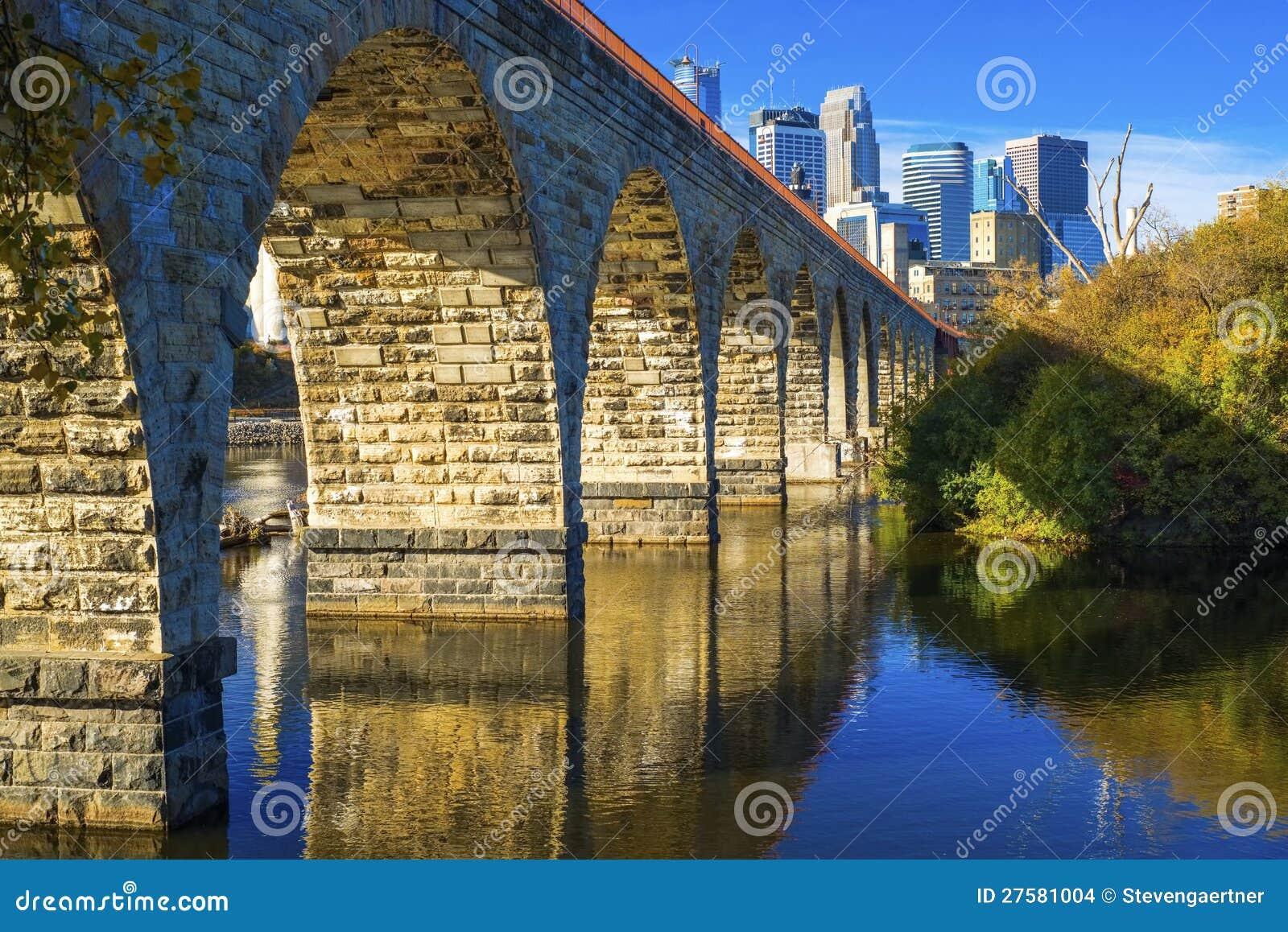 Stone arch bridge, minneapolis skyline
