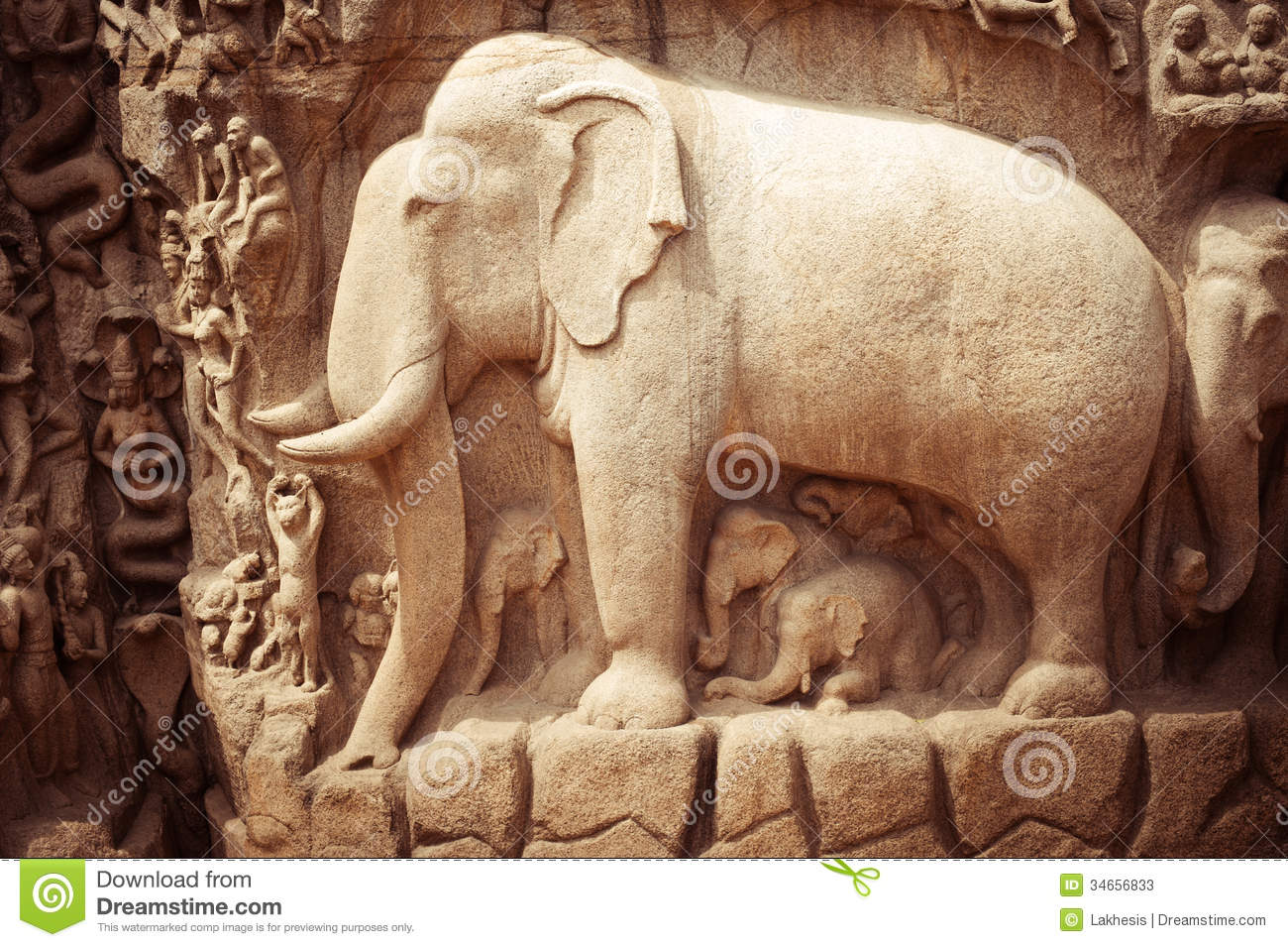 Stone bas relief fragment with elephant india stock image